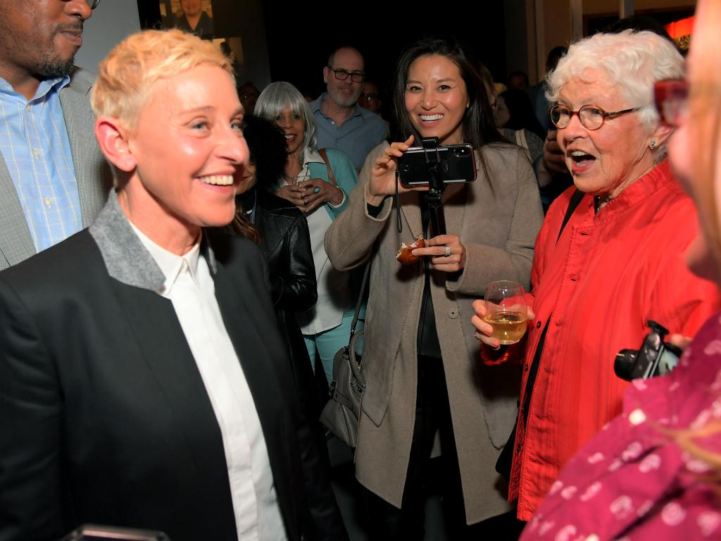 Ellen DeGeneres and her mother Betty DeGeneres (R), whose husband molested Ellen. Picture: Charley Gallay/Getty Images for Netflix