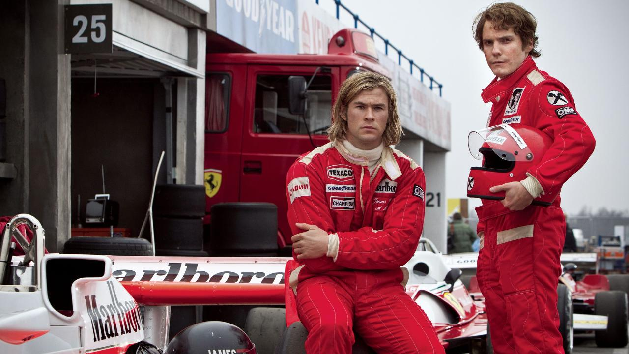 Hemsworth as James Hunt and Daniel Bruhl as Niki Lauda in Rush.