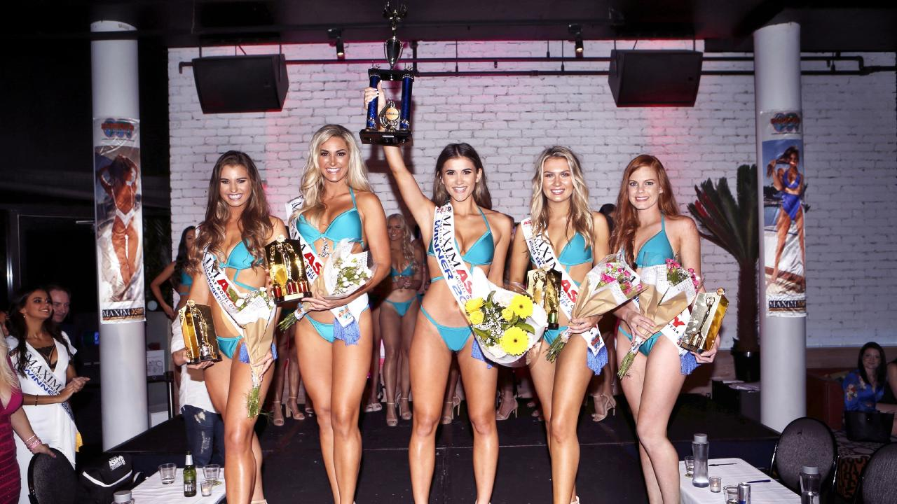 (from left) Olivia Caneva (Miss Photogenic), Lara Milton (first runner up), Isabelle Lee (winner), Chantelle Lockett (second runner up) and Shelly McCartidge (Miss Congeniality) at the MAXIM Australian Swimwear Model of the Year awards for 2019 at Stingray Bar in Surfers Paradise on the Gold Coast Picture: Richard Mamando