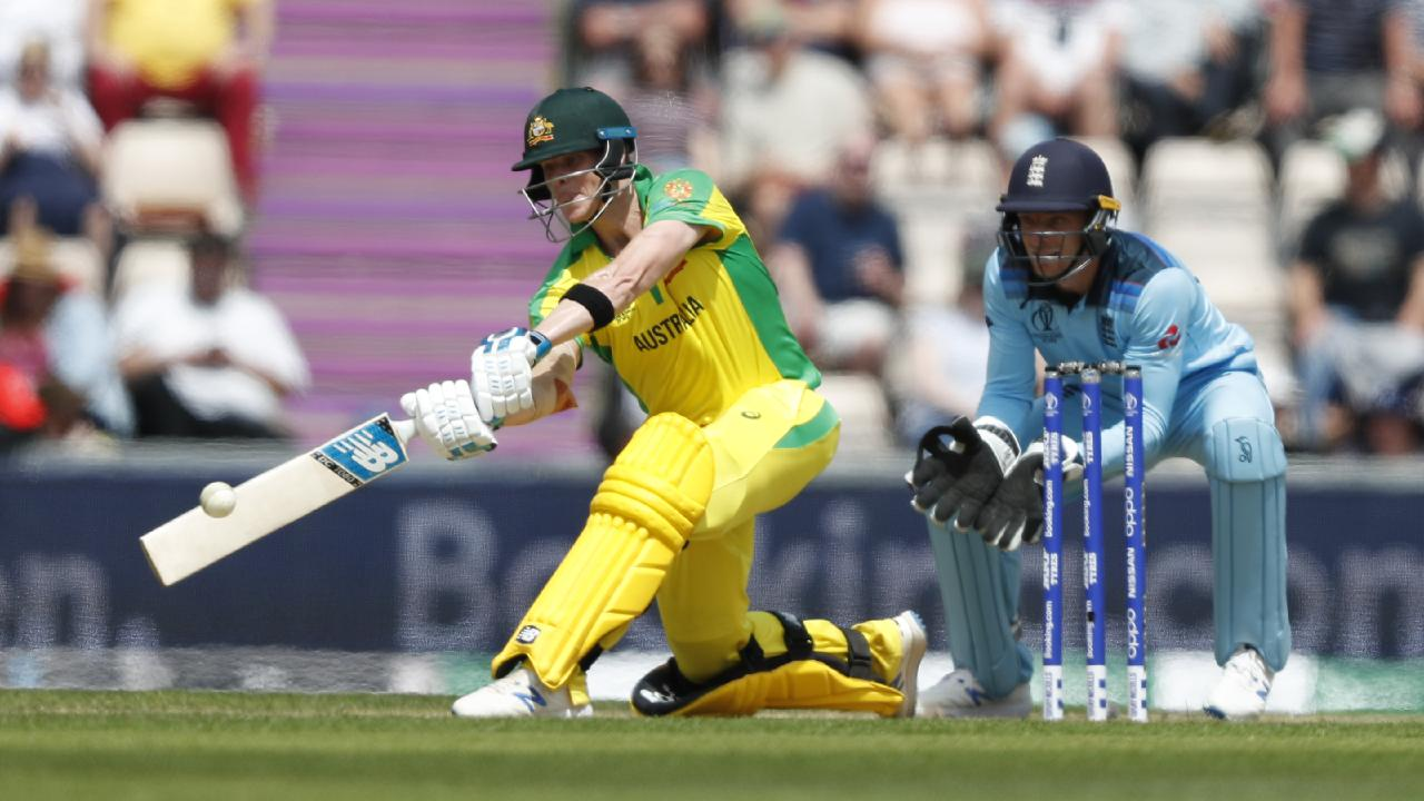 Steve Smith hit a confidence boosting century in a warm-up match with England.