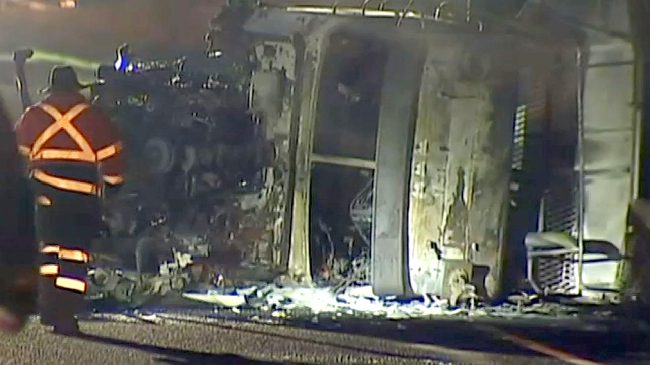 """Emergency services described the scene of the crash as """"catastrophic"""". Picture: Sky News Australia"""