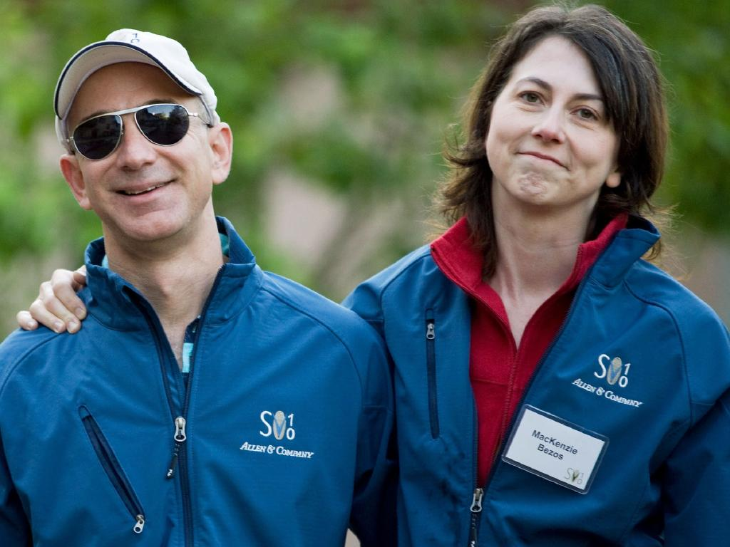 Jeff Bezos and his ex-wife MacKenzie. She is pledging billions of dollars to a new charity. Picture: Matthew Staver/Bloomberg via Getty Images