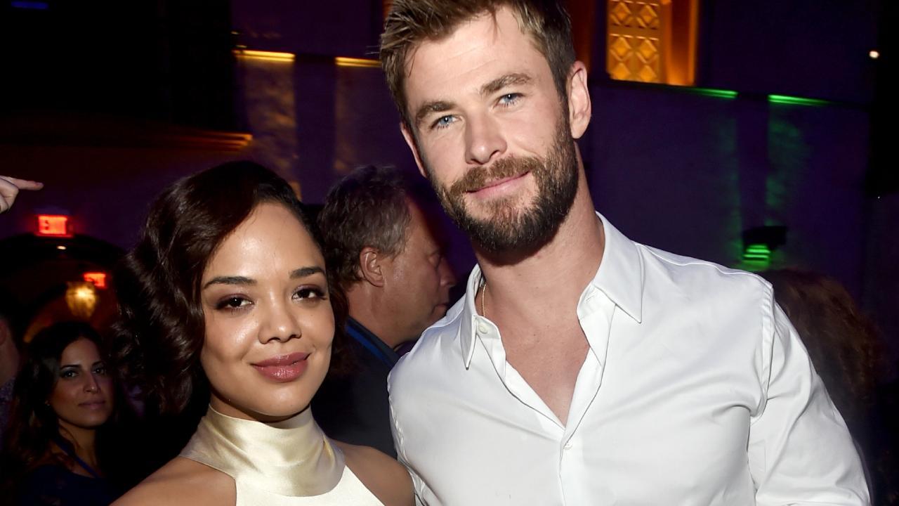 Thompson and Hemsworth at the Thor: Ragnarok premiere.
