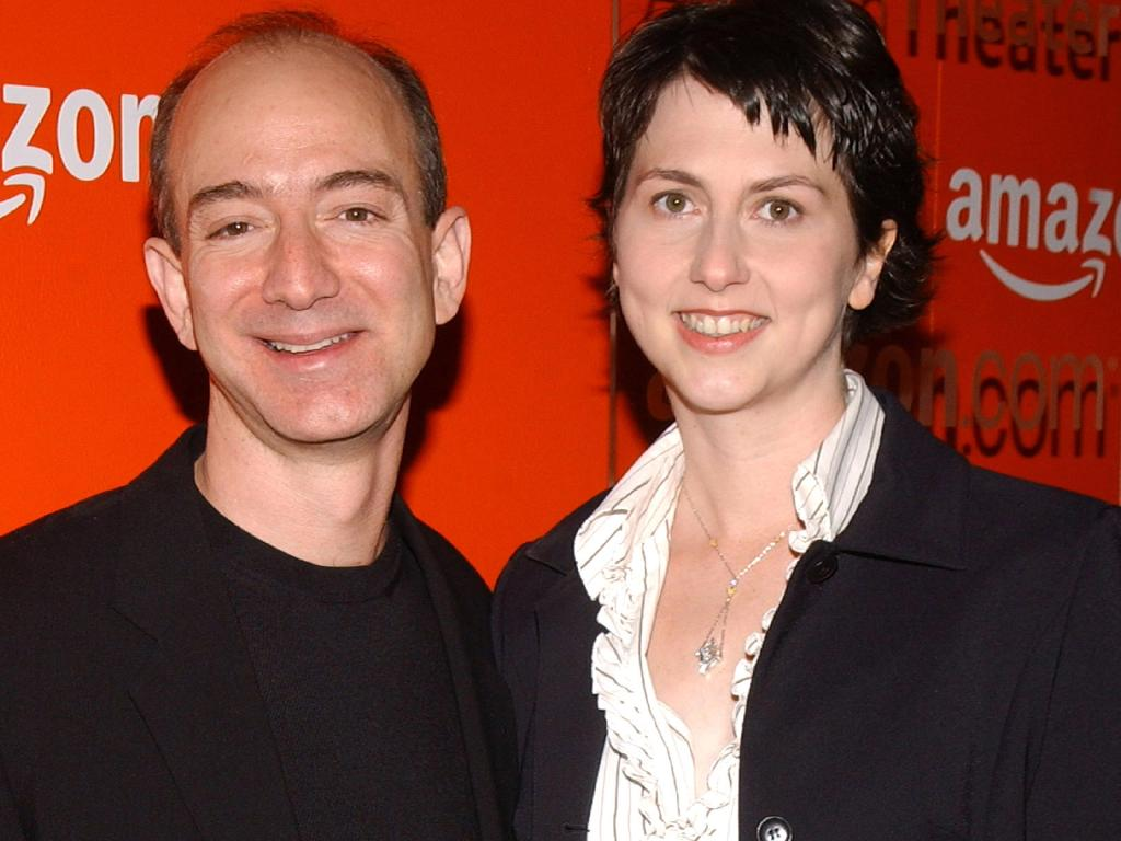 Jeff Bezos, CEO of Amazon and ex-wife Mackenzie Bezos. She has donated much of her divorce settlement to a pledge started by Bill Gates. Picture: Jean-Paul Aussenard/WireImage