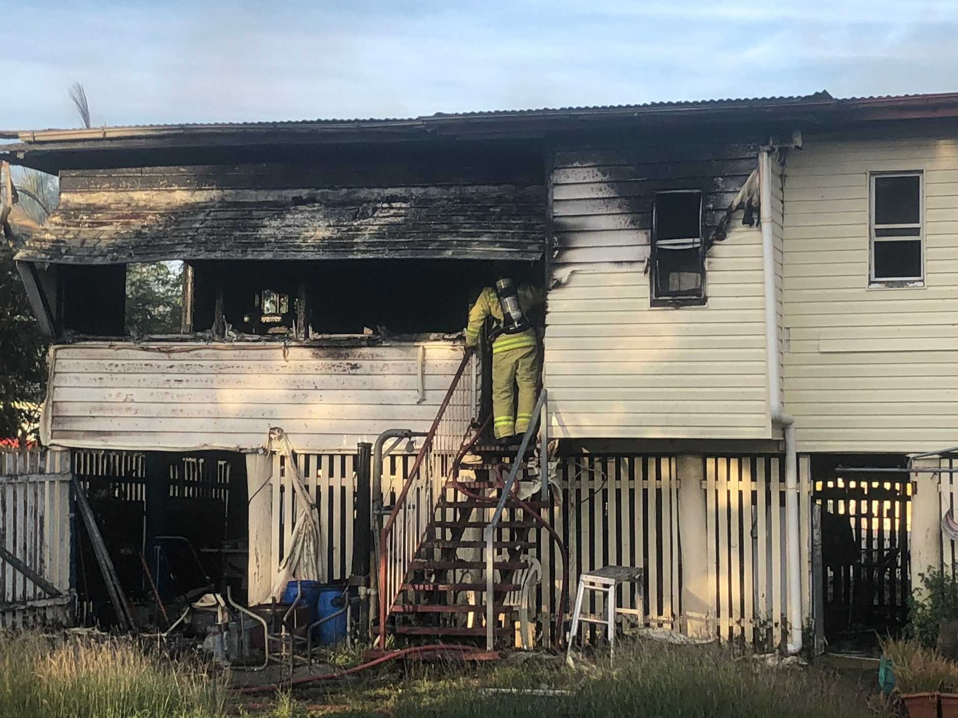 HOME GUTTED: A home in Naughton St, Wandal, was gutted by fire yesterday afternoon. Investigations are expected to begin today.