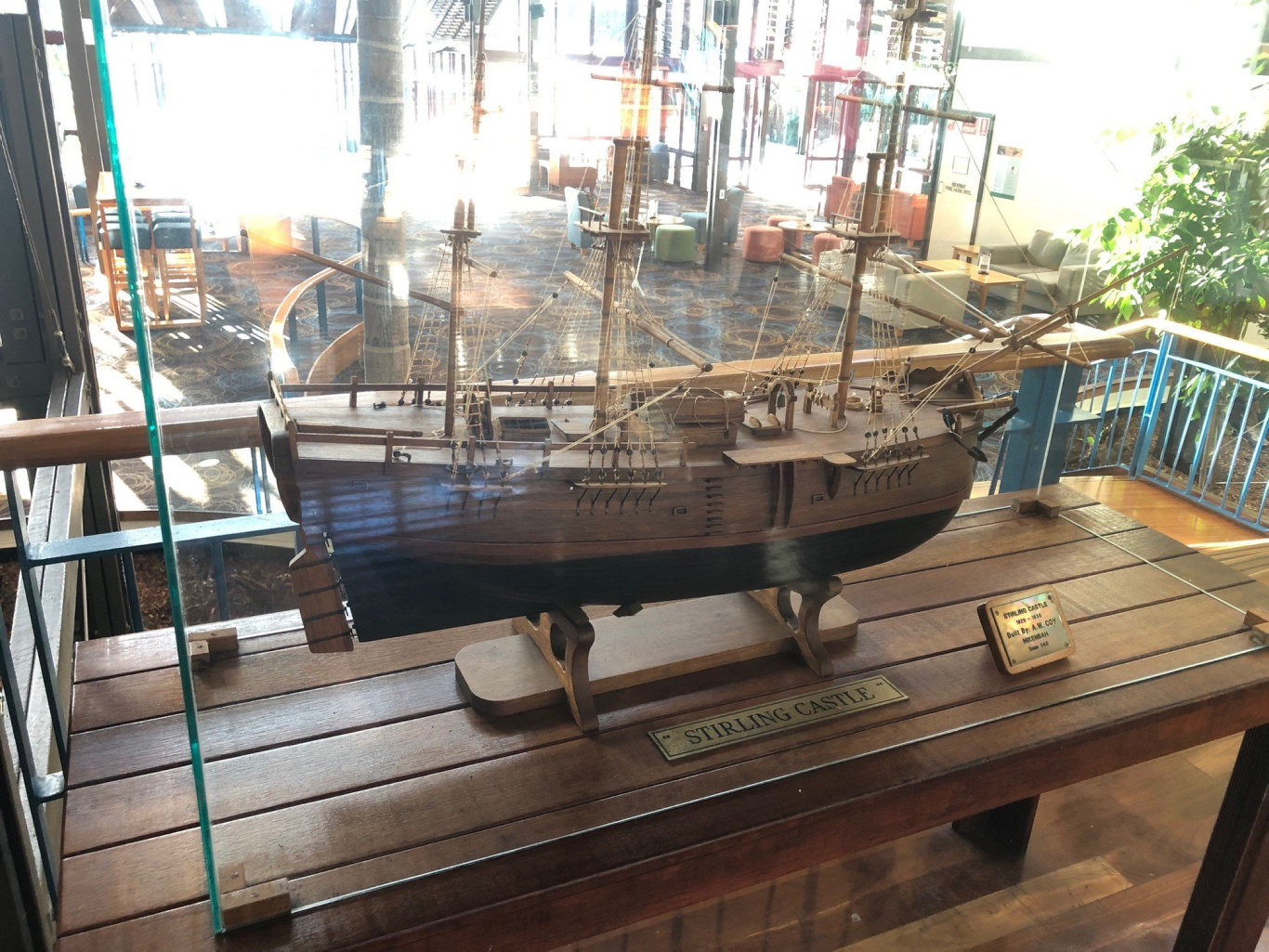 A model of Stirling Castle, one of the famous shipwrecks off the coast of Fraser Island.