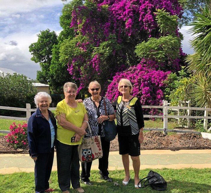 CLUBS ON TOUR: Pat Curran from Samford Probus club and Pat Needham, Val Ceccato and Liz Thomas-Ellis from Chapel Hill VIEW club enjoyed a wonderful day visiting Tamborine House and Albert River Winery.