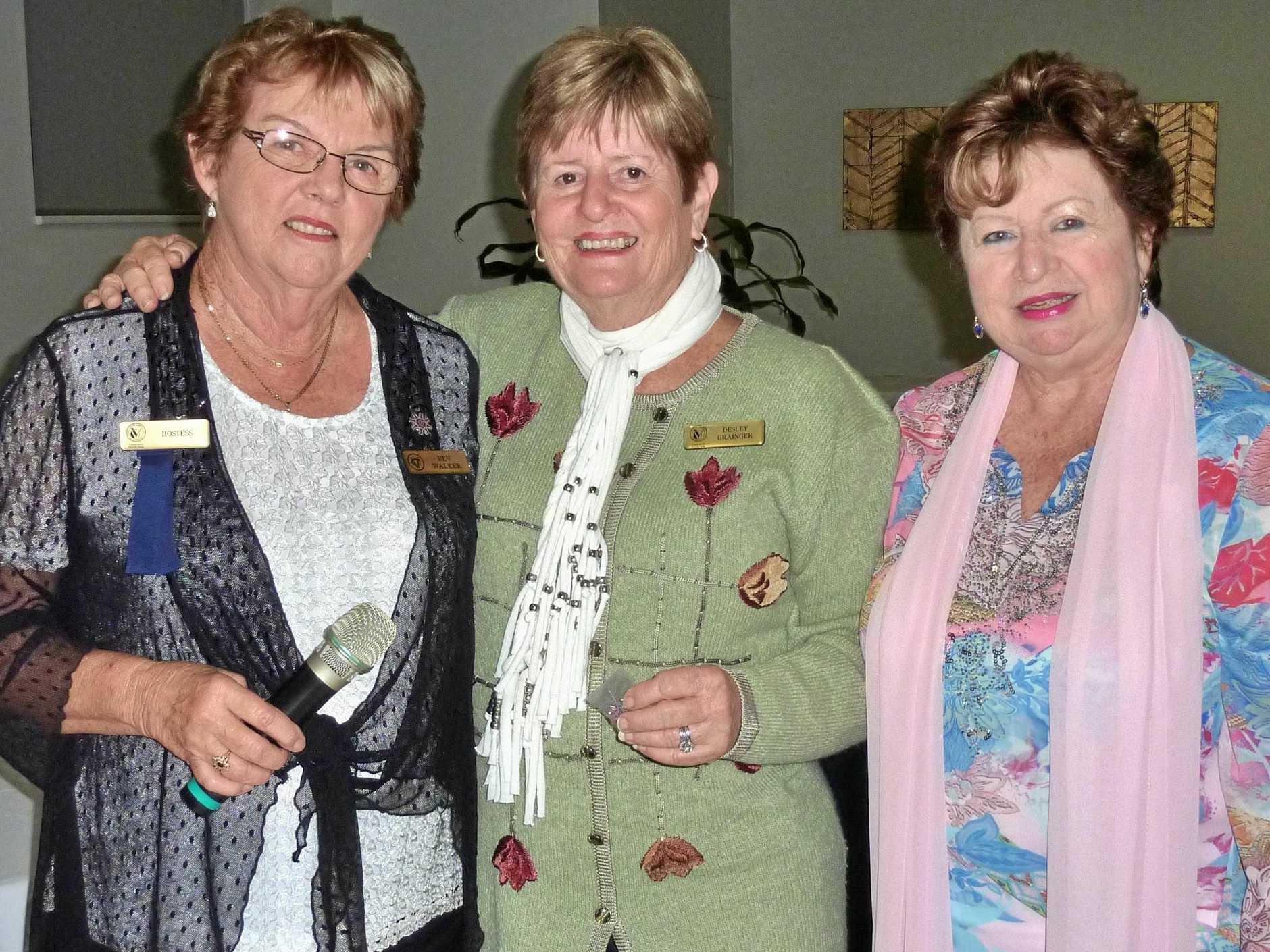 VIEW Founding Member, Bev Walker, congratulates Desley Grainger and Linda Warner on receiving their 20 Year membership.