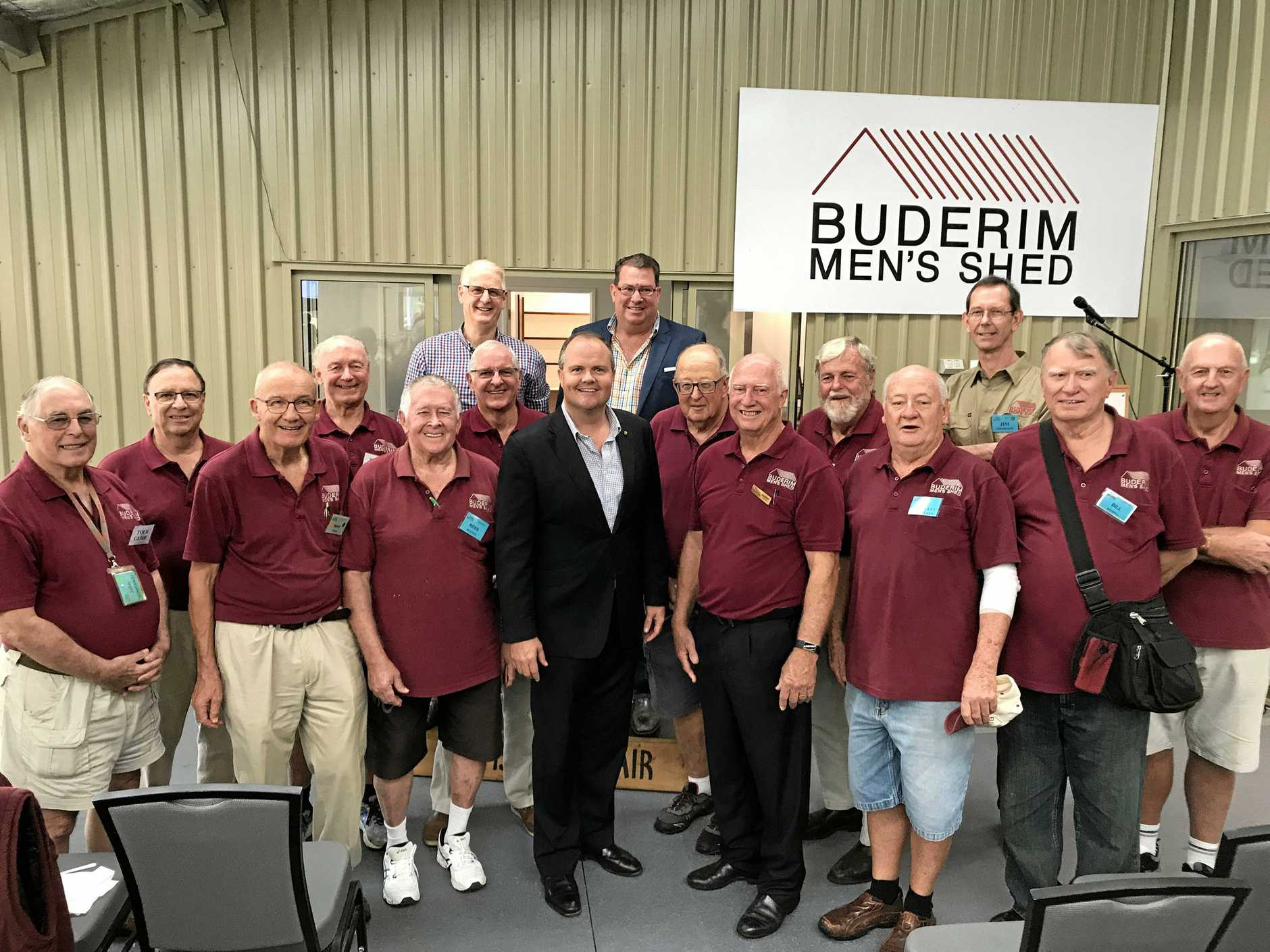 OFFICIAL OPENING: Assistant Minister for Roads and Transport Scott Buchholz with Federal Member for Fairfax Ted O'Brien and President of the Buderim Men's Shed, Mr Barry Cheales and members.