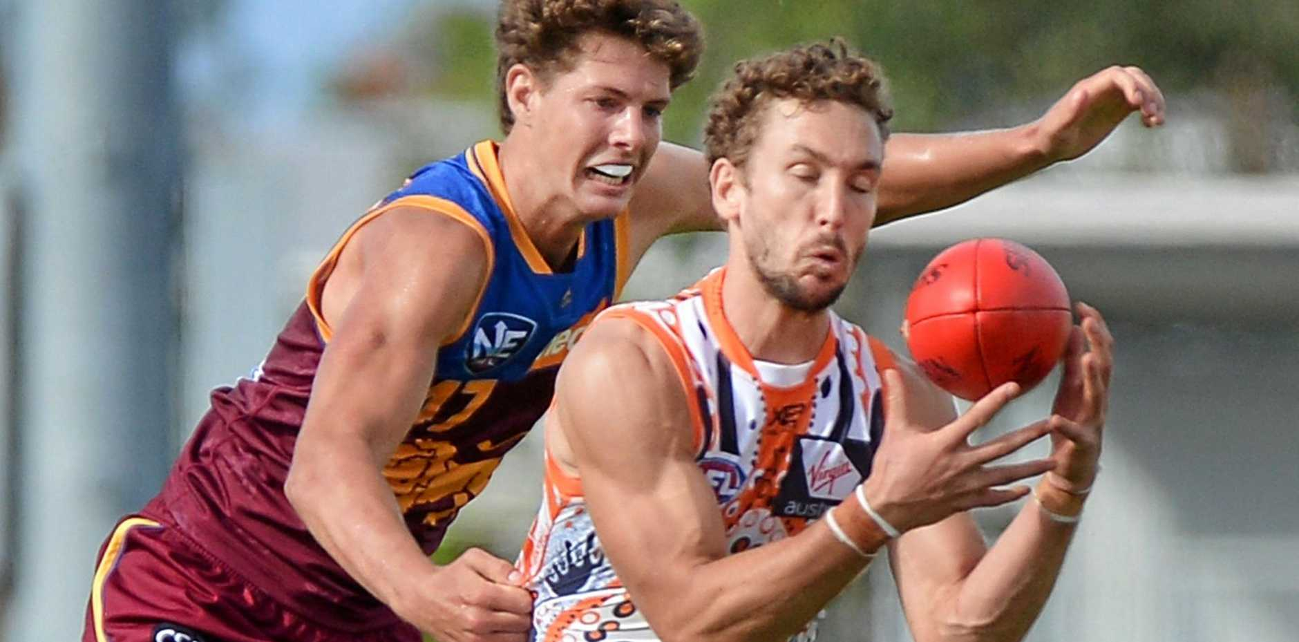 IN ACTION: Lions Tom Fullarton, in a NEAFL game against the Giants at Maroochydore.