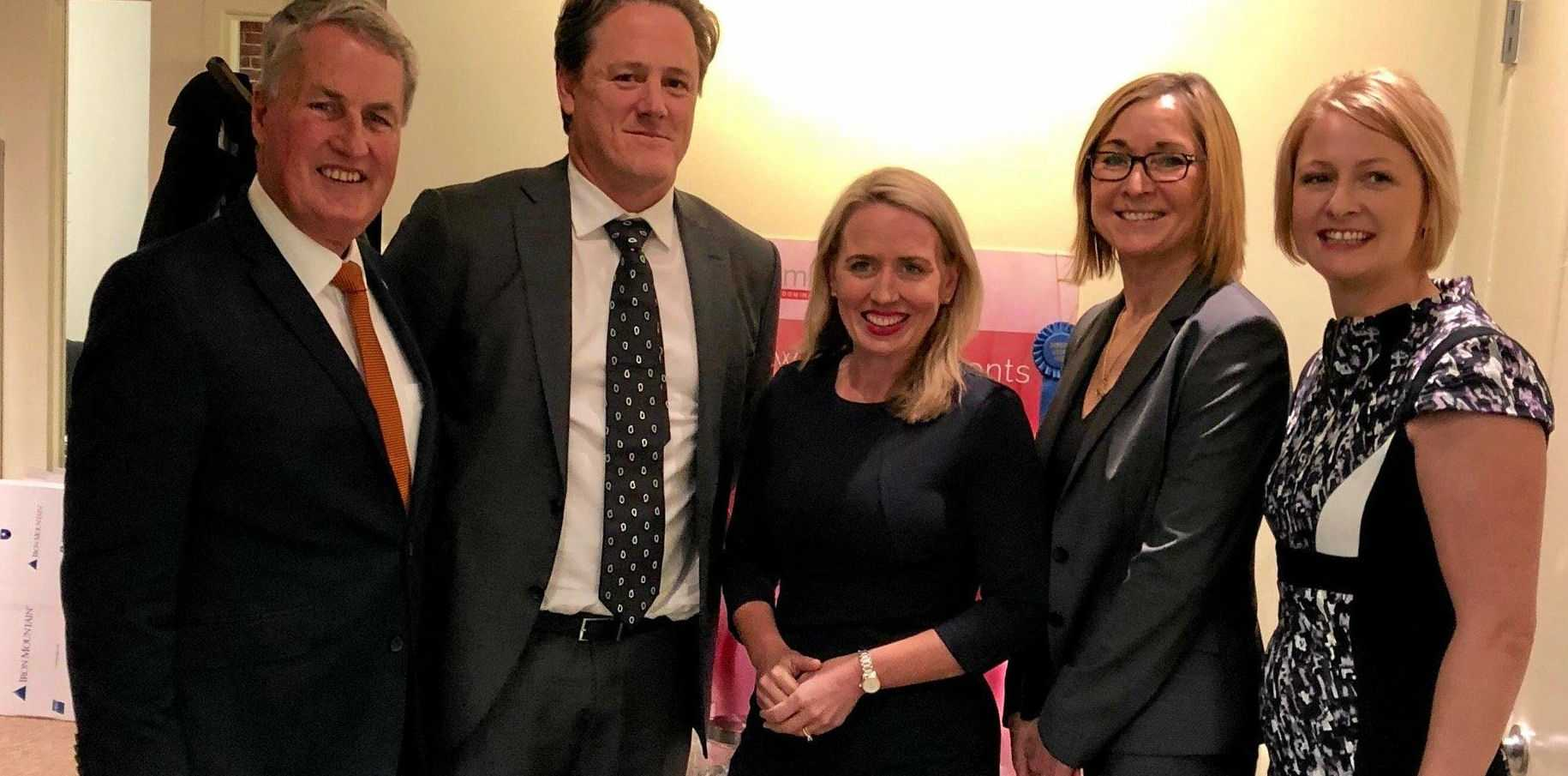 Mackay Mayor Greg Williamson (left), founder of the Coral Sea Centre Research Institute Dr James Daveson, State Innovation Minister Kate Jones, Founder of Immusan T Leslie Williams, and Mackay deputy mayor Amanda Camm at BIO Convention 2018 in the US.