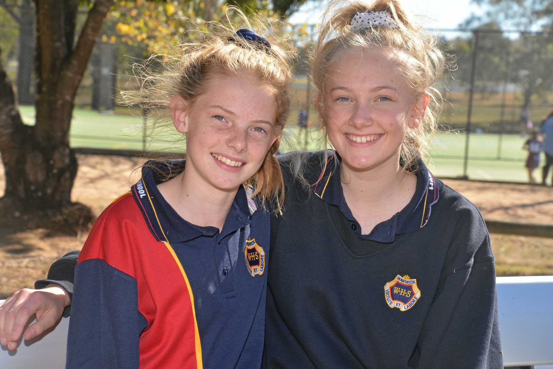 Sisters Bessie and Bridget Eastwell played for Warwick High in Broncos Cup netball at Scots PGC College this week.
