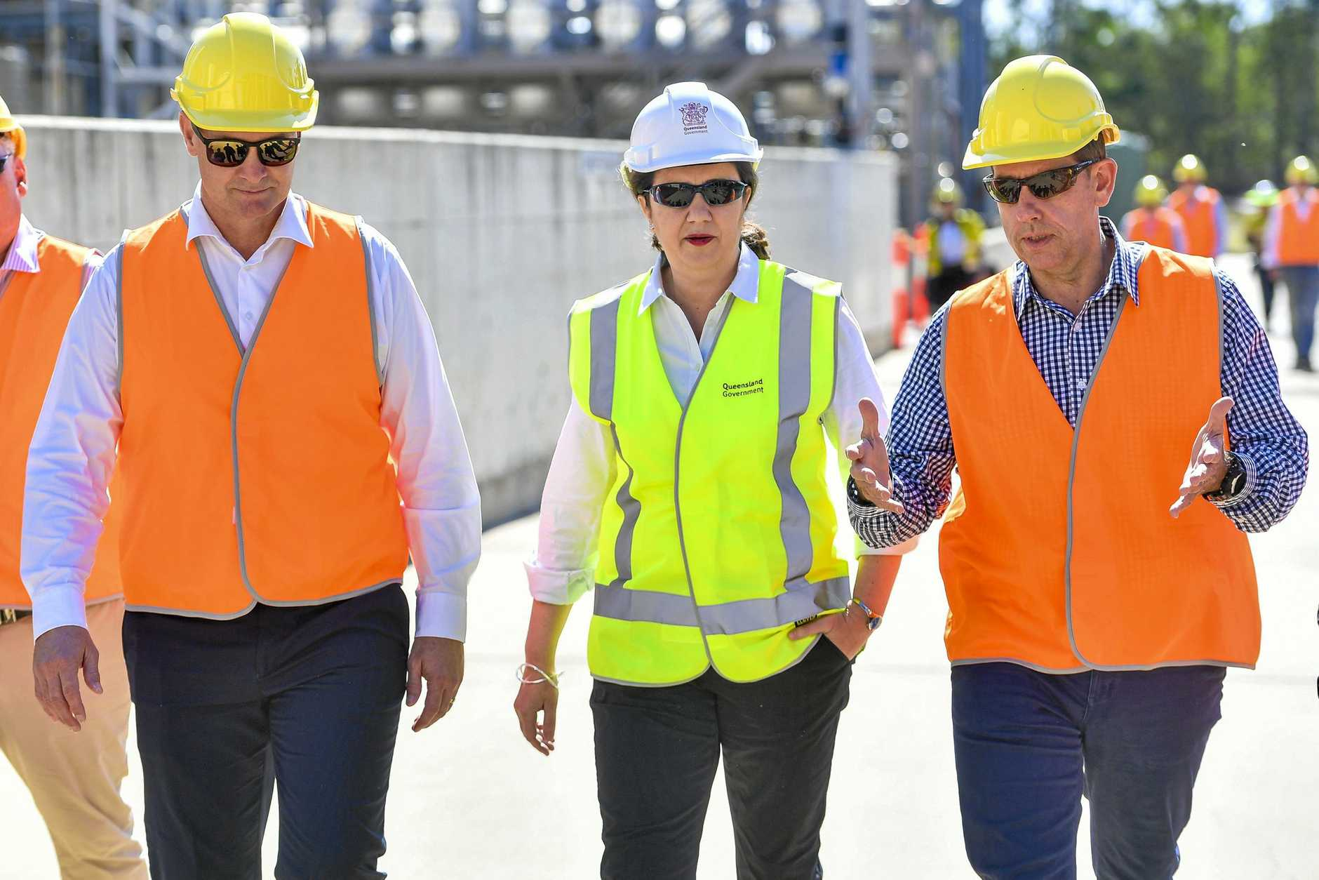 Queensland Premier Annastacia Palaszczuk, Gladstone MP Glenn Butcher and Minister for State Development, Manufacturing, Infrastructure and Planning Cameron Dick at Northern Oil Refinery to announce the Queensland Government's new hydrogen plan.