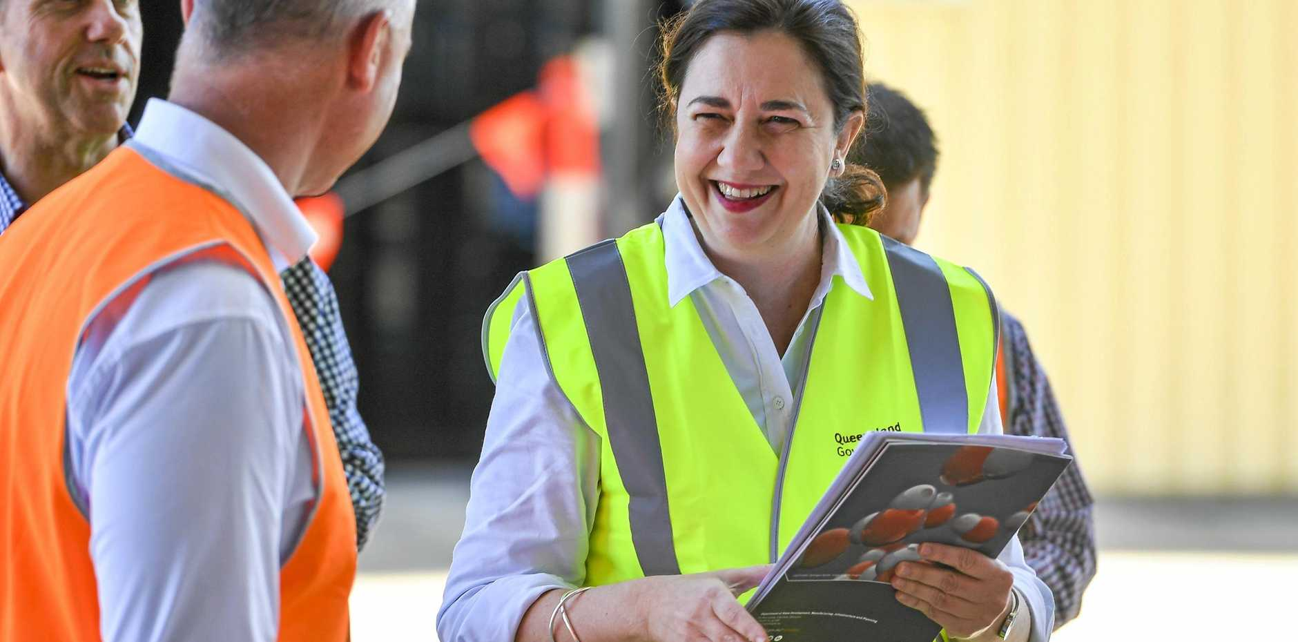 ALL SMILES: Queensland Premier Annastacia Palaszczuk enjoys a lighter moment with Gladstone MP Glenn Butcher and Minister for State Development Cameron Dick at Northern Oil Refinery to announce the Queensland Government's new $19-million Queensland Hydrogen Industry Strategy 2019-2024.
