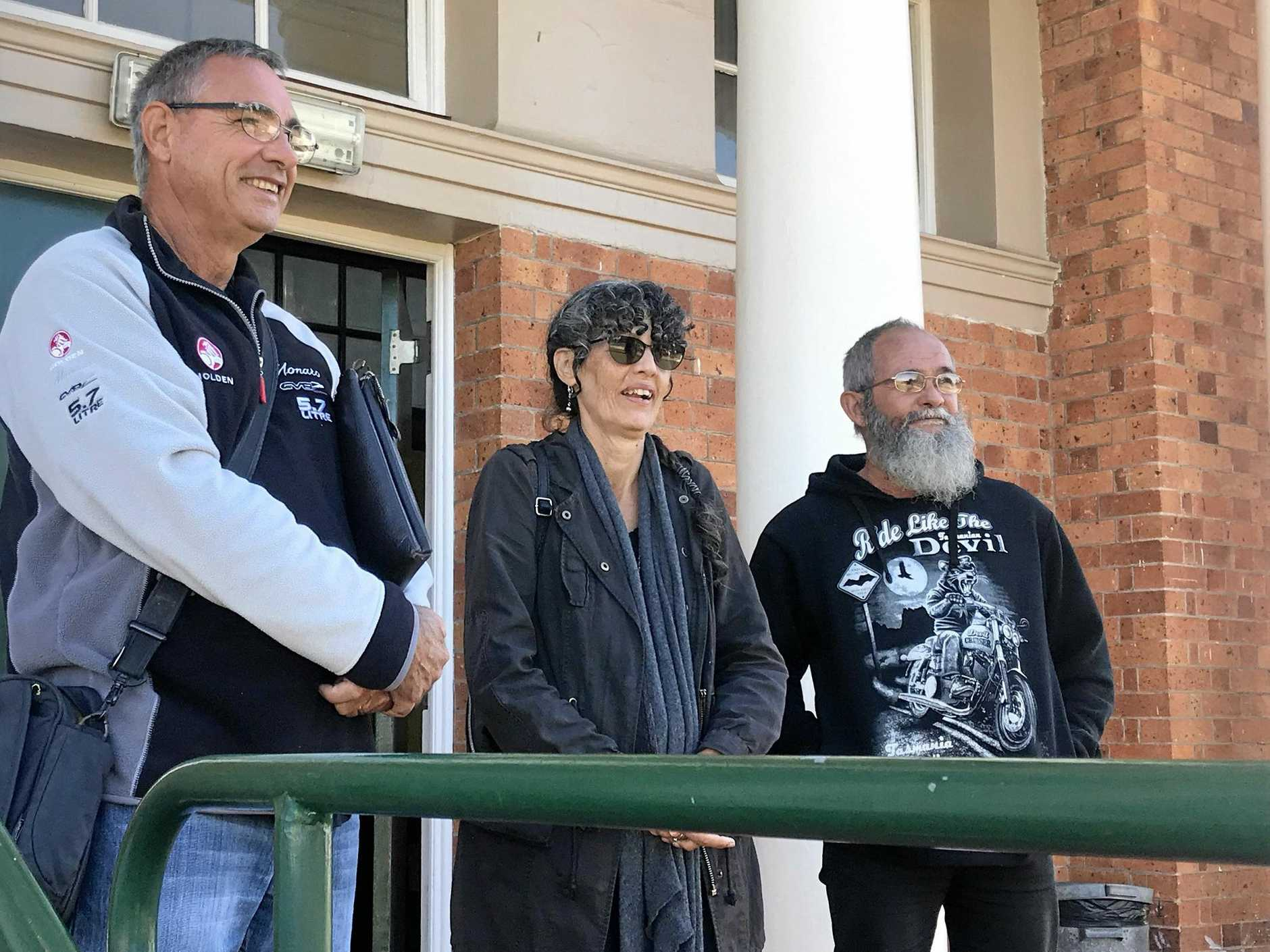 NEAR THE END: Gympie land rights protesters (from left) Wit-boooka, Diane Redden-King and Mervyn Tomlinson outside Gympie District Court yesterday
