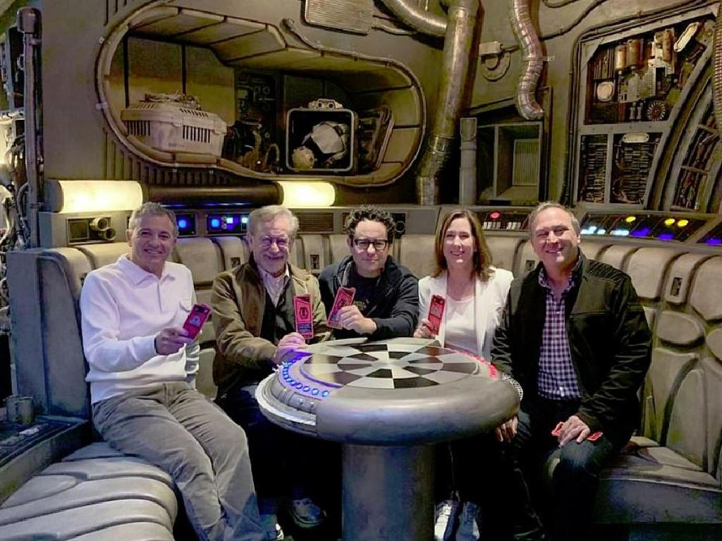Disney president Robert Iger, directors Steven Spielberg and JJ Abrams and producer Kathleen Kennedy at new  Star Wars attraction at Disneyland. Picture: Instagram