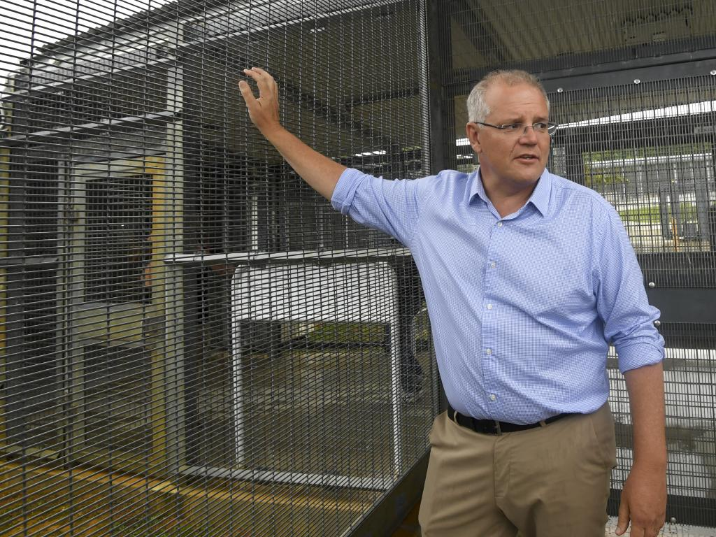 Australian Prime Minister Scott Morrison tours the Christmas Island detention centre. Picture: AAP Image/Lukas Coch