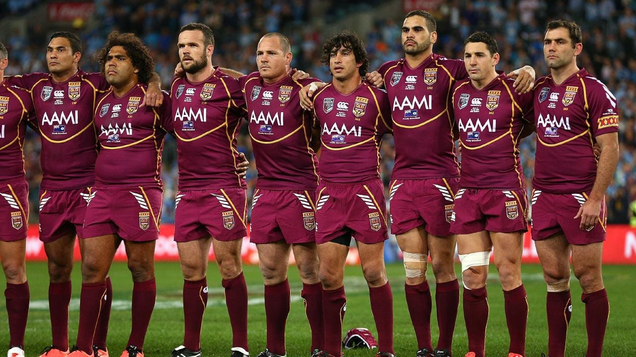 The Maroons sing the national anthem before game three of the ARL State of Origin series in 2013. Picture: Cameron Spencer/Getty Images