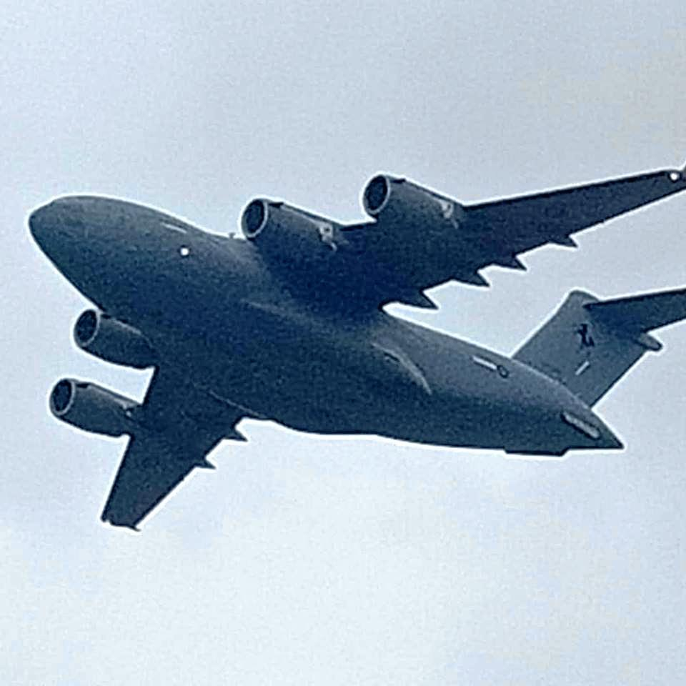 A C-17A Globemaster, which will be in the skies above the Whitsundays doing training today.