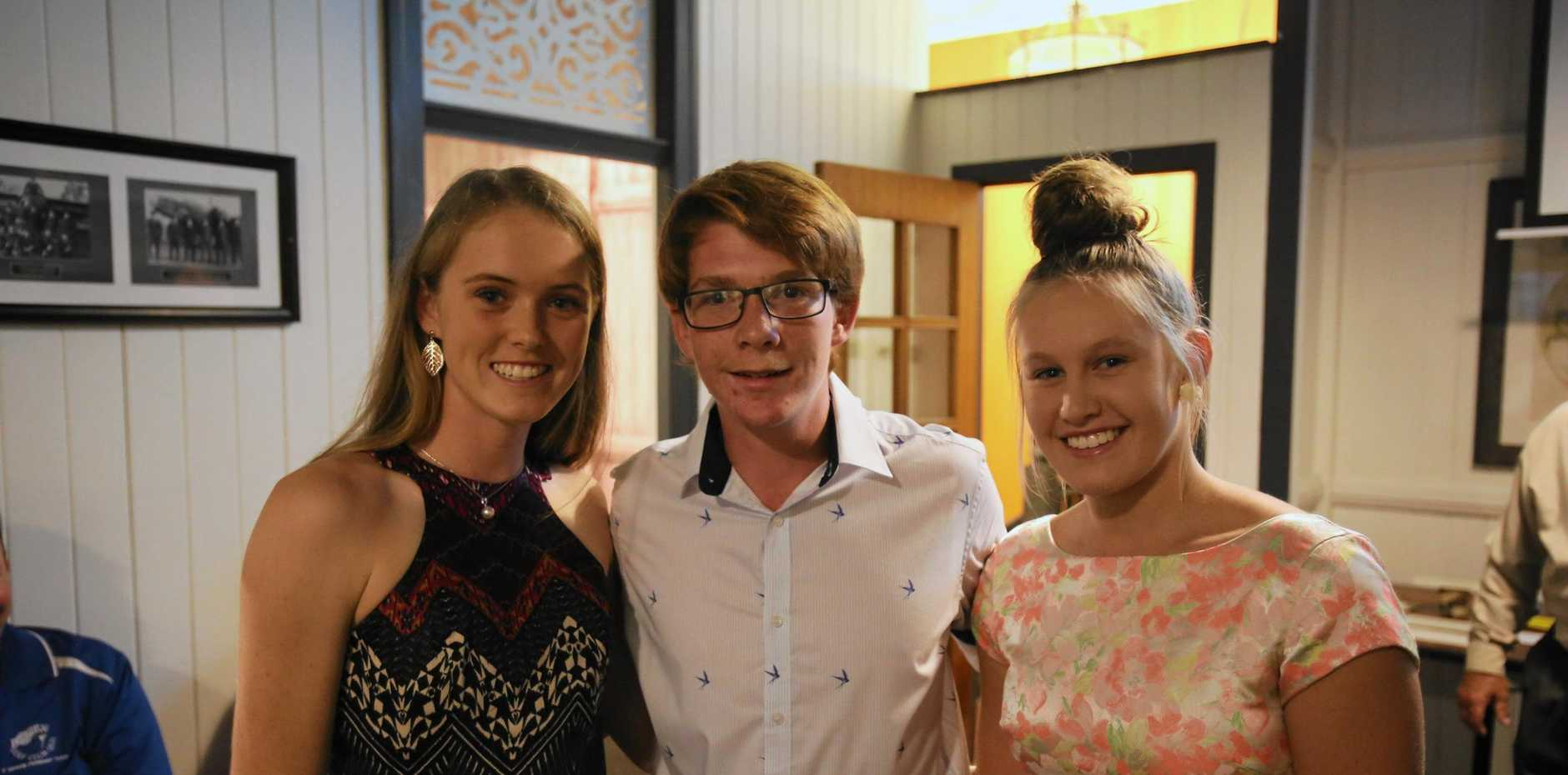 NEXT GENERATION: Rising local sporting stars Elliarna Mitchell, Denver Cross and Eden Hedges were in attendance at the Bowen Sporting Hall of Fame function.