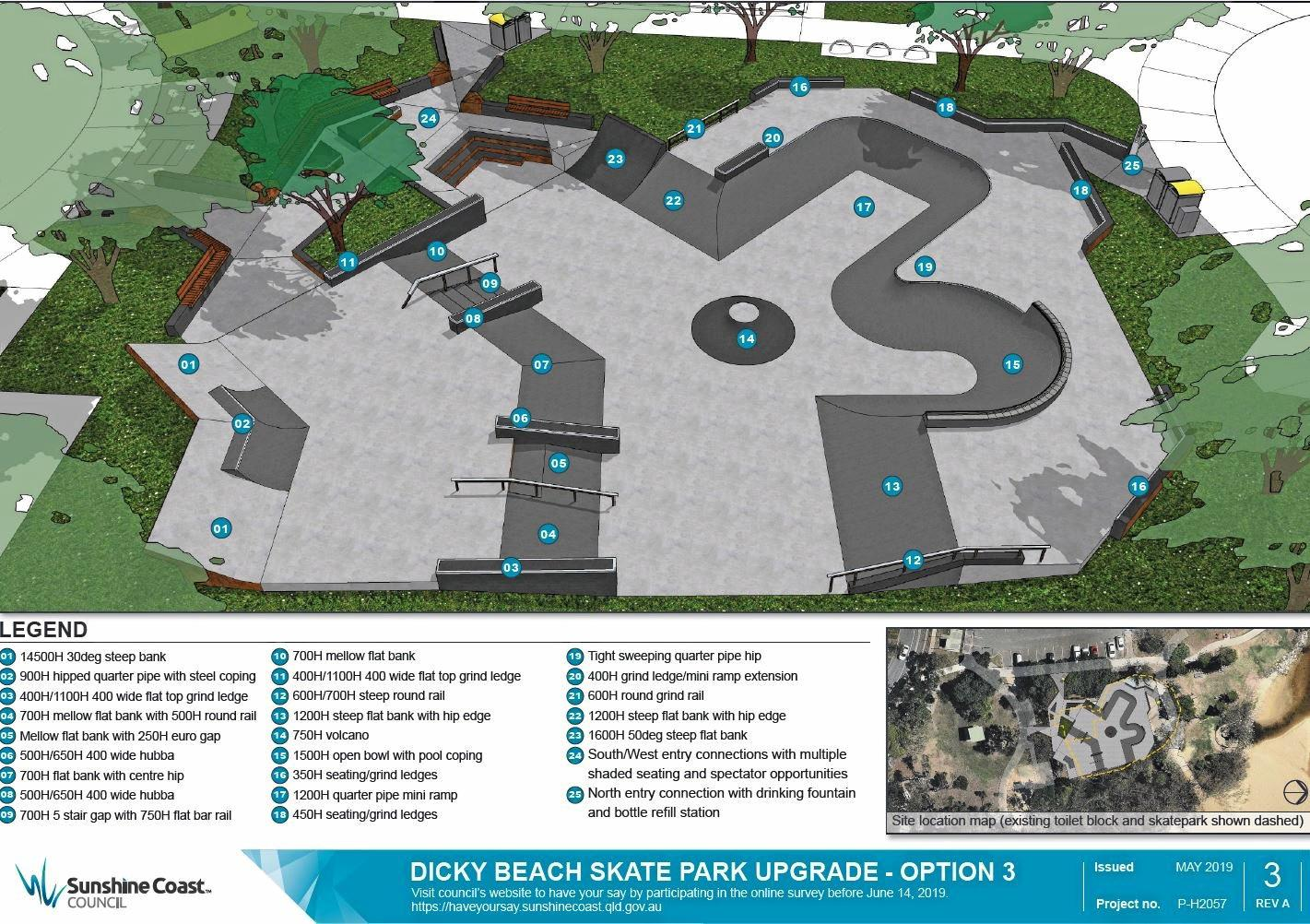 Community feedback is being sought for the new popular Dicky Beach skate park, revived by Sunshine Coast Council. Option 3