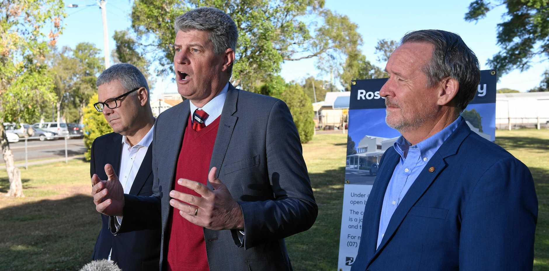 Local Government Minister Stirling Hinchcliffe, Ipswich City Council CEO David Farmer and Jim Madden MP.