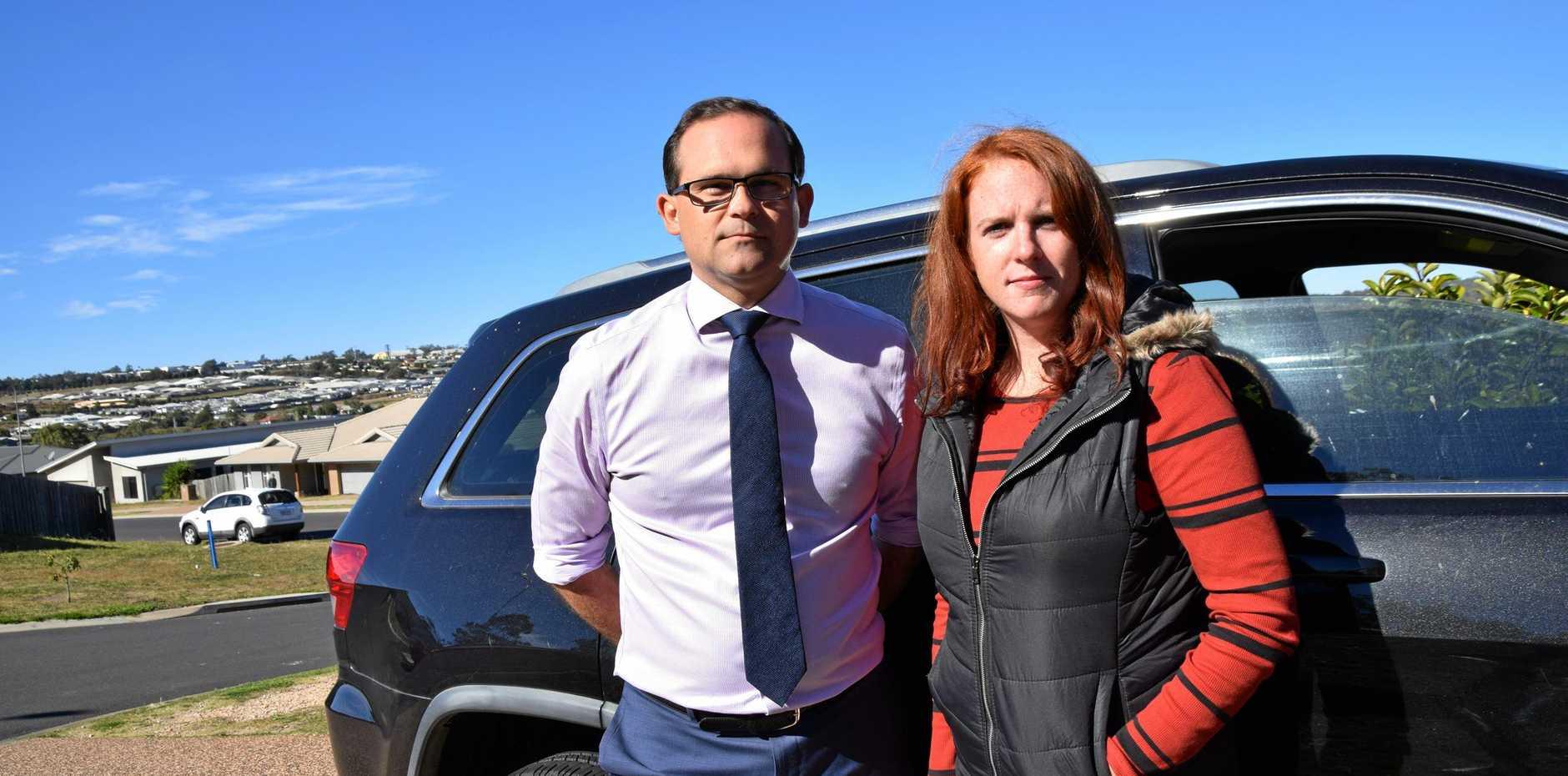 TRUE COST: Toowoomba South MP David Janetzki and Glenvale mother Lilas Fegan.