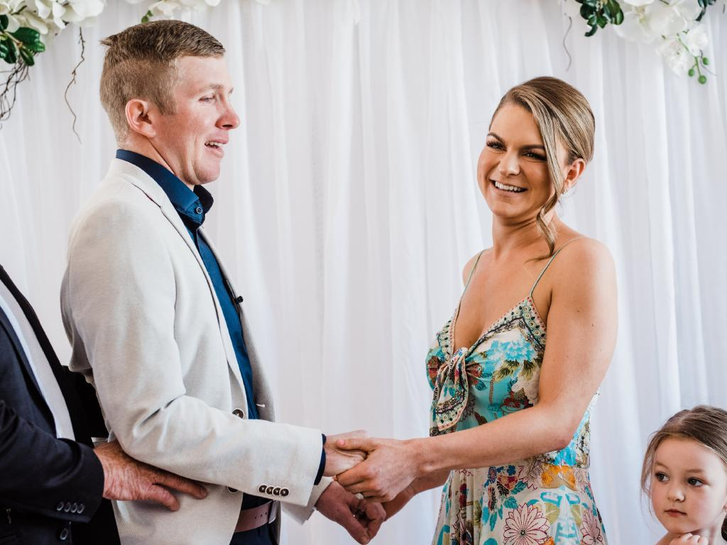 Casey and Sharna on their wedding day. Picture: Eliza McDonald/ Pineapple Images
