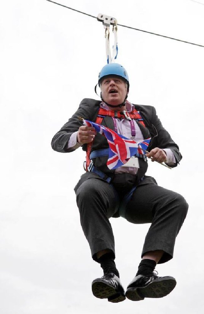 Boris Johnson pulls a stunt in a London park.