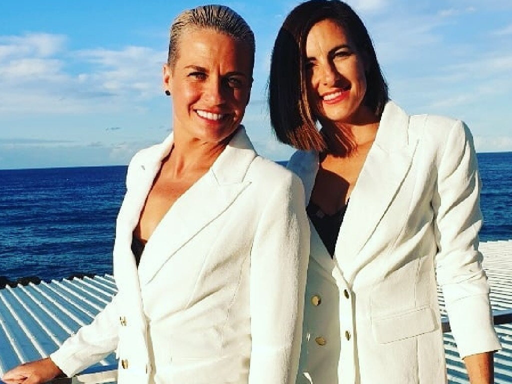 Hayley Bateup and April Zekulich at Currumbin Vikings Surf Club where they got married at the weekend