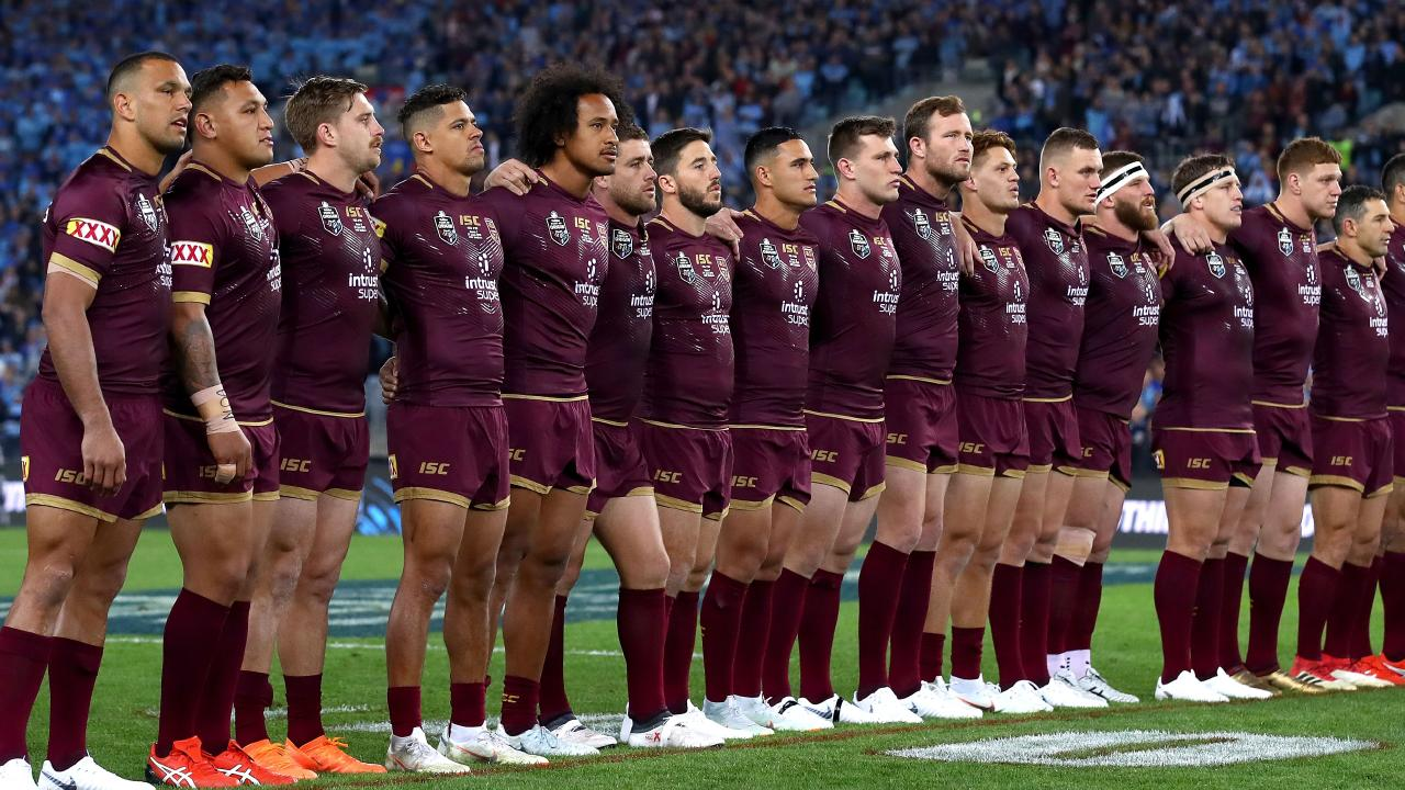 Will Chambers, far left, he won't sing the national anthem in Origin I. Picture: Getty Images
