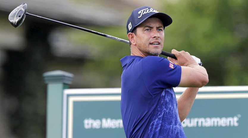 Adam Scott watches his tee shot on the 10th hole during the second round of the Memorial Tournament in Dublin, Ohio.  Picture: Jay LaPrete/AP