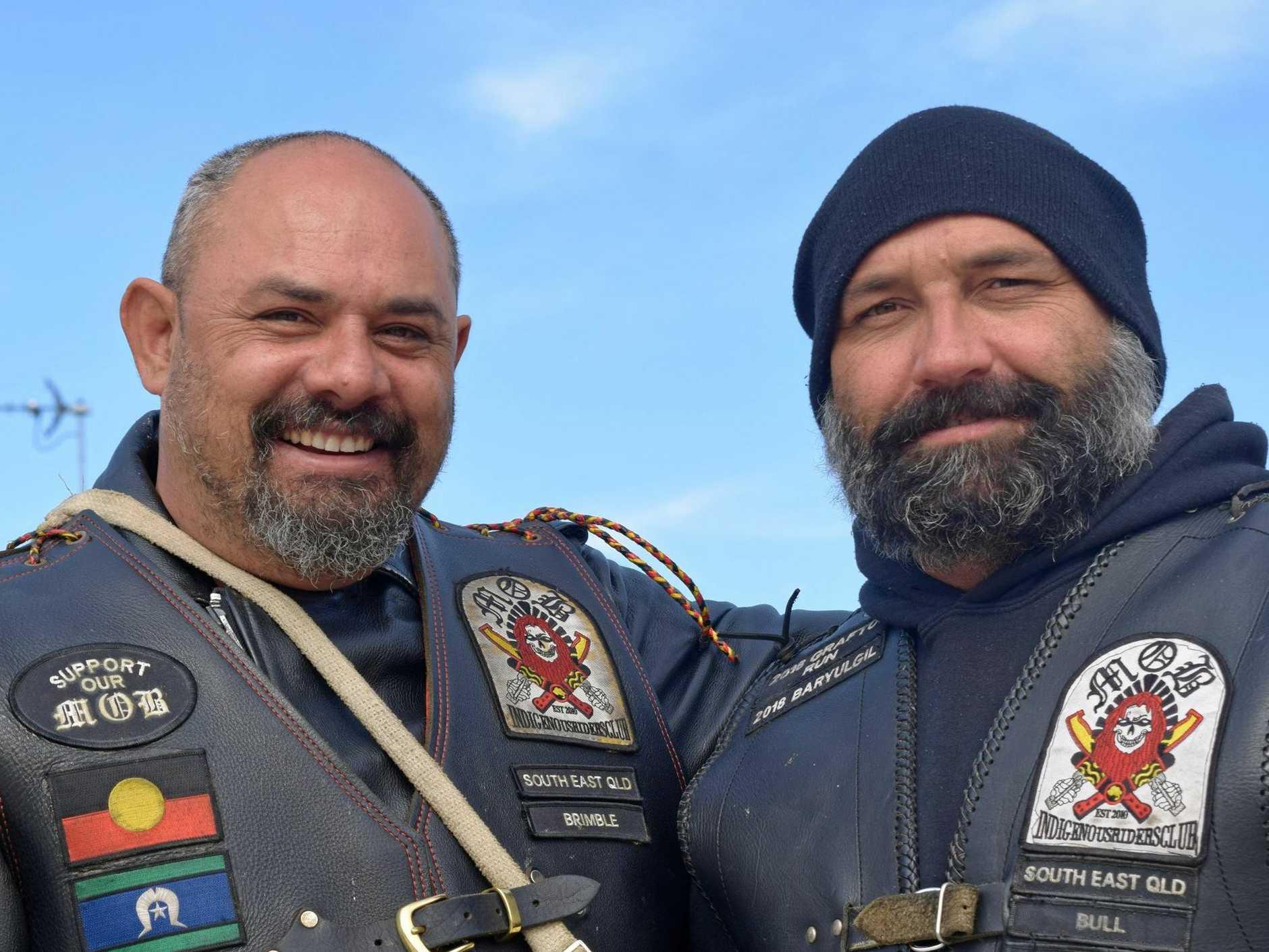 BROTHERHOOD: Mark Brimble and Damian Beetson of the 'Murries on Bikes' group.