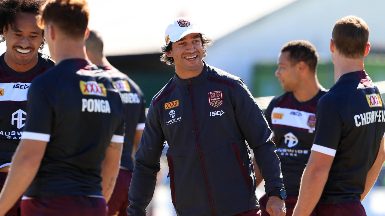Johnathan Thurston talks to Daly Cherry-Evans as the Queensland Origin team train on Friday at Davies Park West Brisbane ahead of game 1 of the series. Pics Adam Head