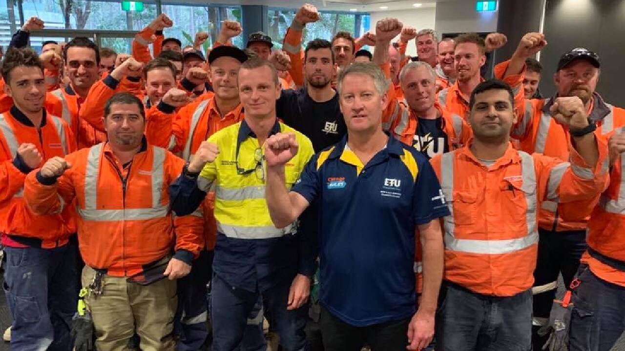A number of workers were stood down without pay for wearing union clothing during a bargaining period. Picture: Facebook/Electrical Trades Union, ETU NSW Branch