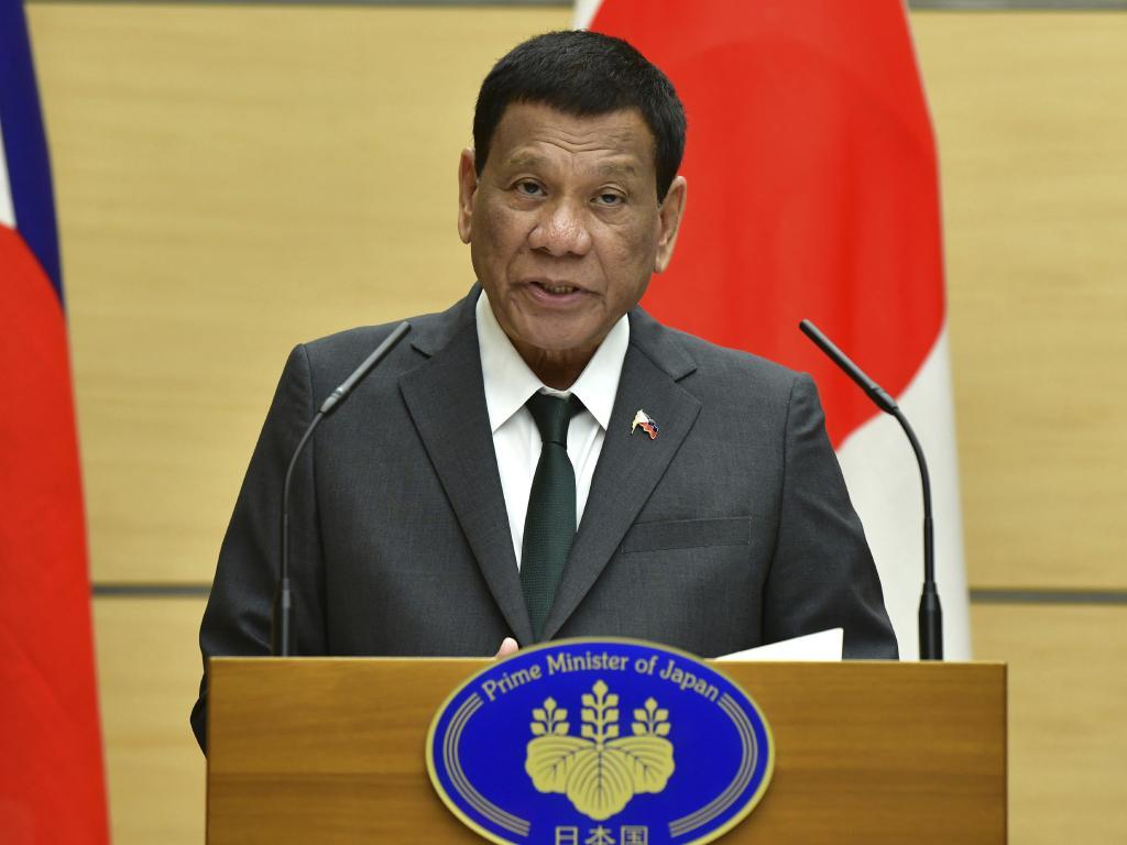 Philippines' President Rodrigo Duterte delivers a speech in Japan. Picture: AP
