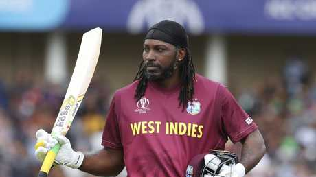 The West Indies' Chris Gayle leaves the field after his dismissal. Picture: AP