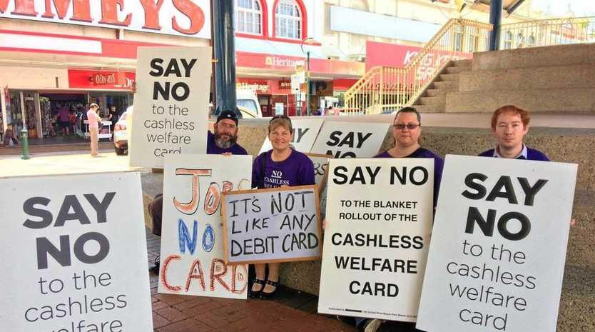 PROTEST: Cashless Debit Card protesters Daniel Stafford, Sharon Feerick, Jodie McNally and Peter Feerick in the CBD.