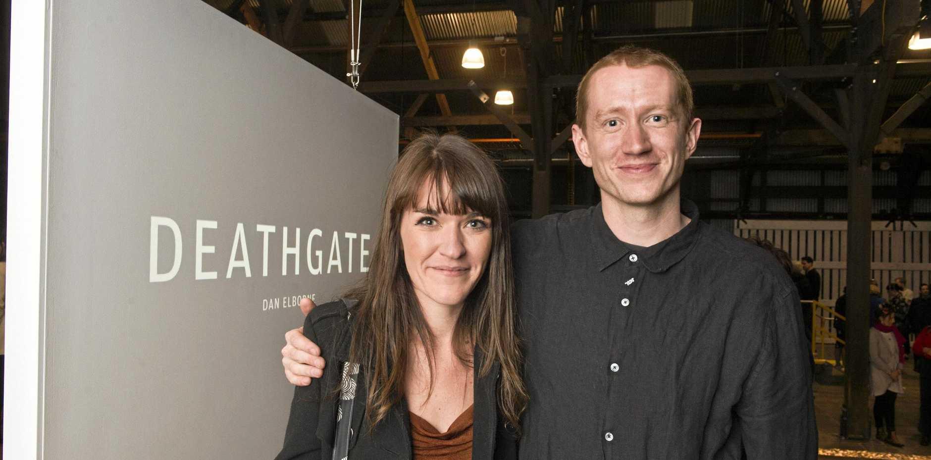 Artist Dan Elborne with Miranda Sampson at the opening of his exhibition,