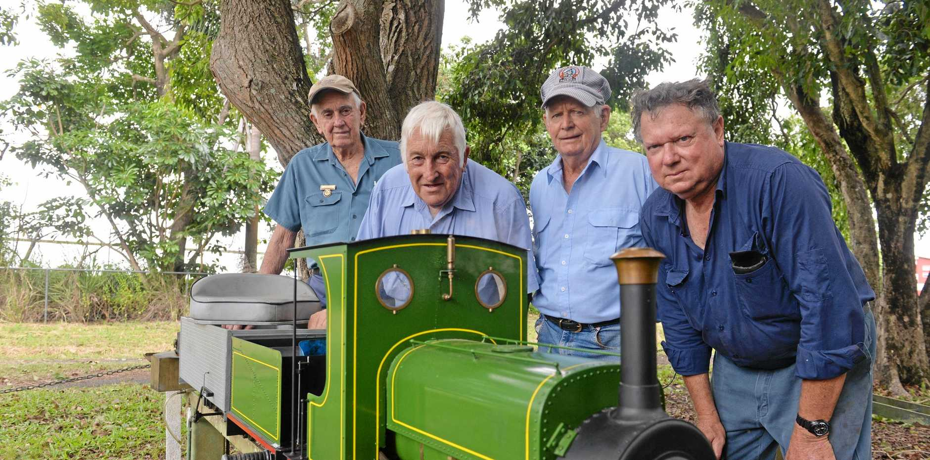John Slipper, Bernie Watson, Brian anderson and Colin Etwell, members of the Mackay Model Society of Engineers.