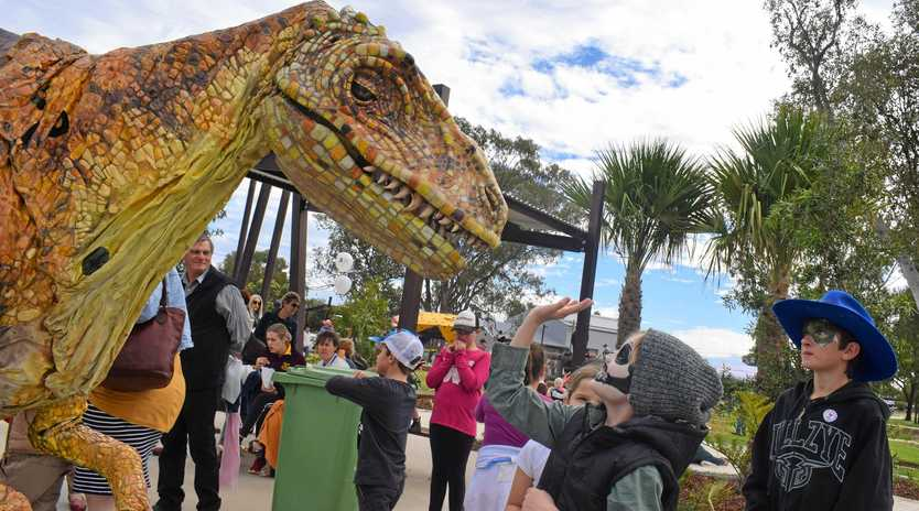 WILD-LIFE: A special pre-historic visitor attended the Chinchilla Botanical (Jurassic) Parkland community fun day, much to the delight of dinosaur lovers of all ages.