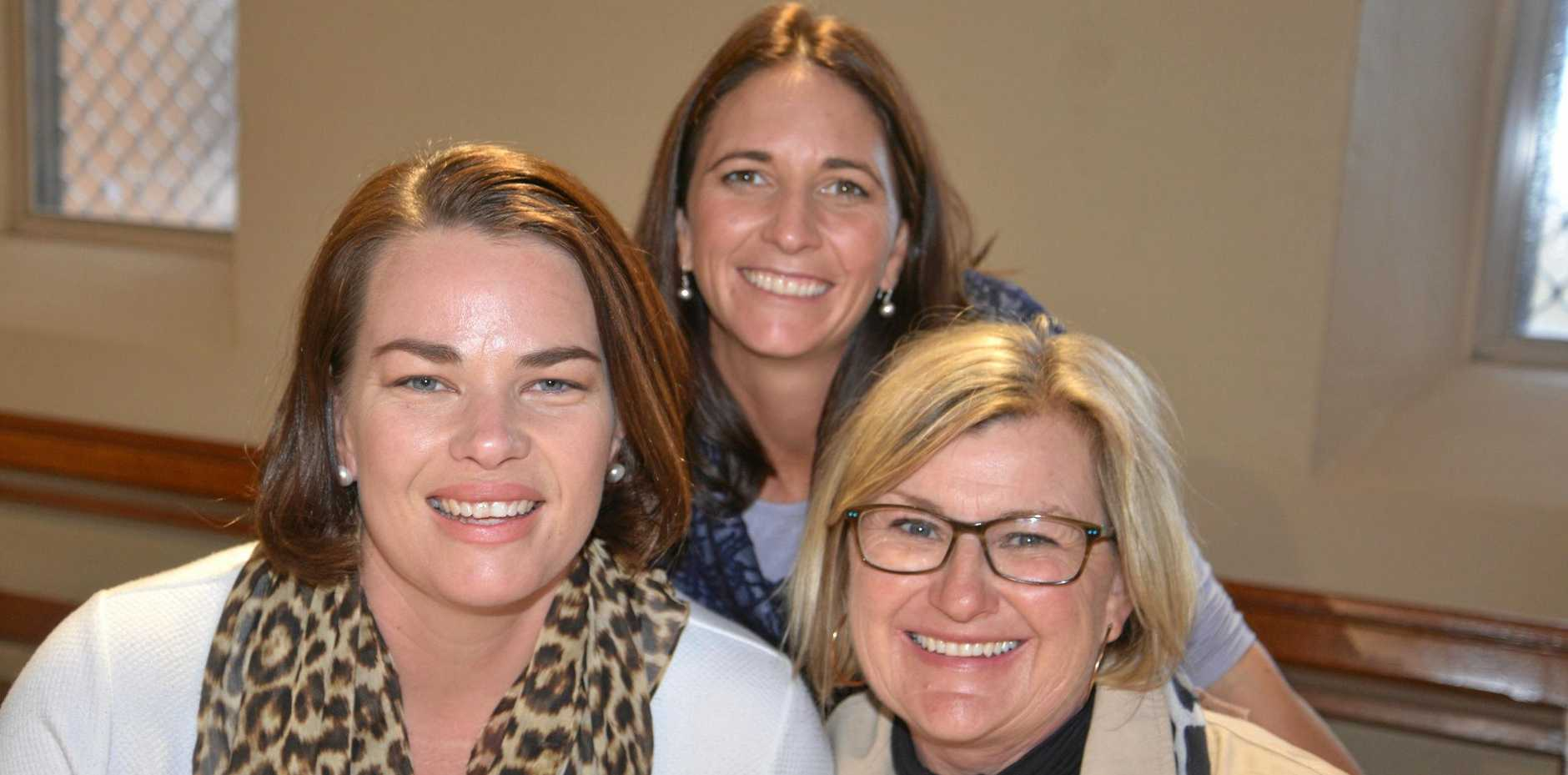 Megan Lawler, Bec Byrne and Lisa Crothers at the high tea.