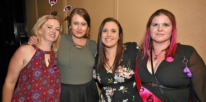 Rachel Mackenzie-Ross, Courtney Spannagle, Cassie Shambler and Mel Tidbury at Zodiac Nightclub.
