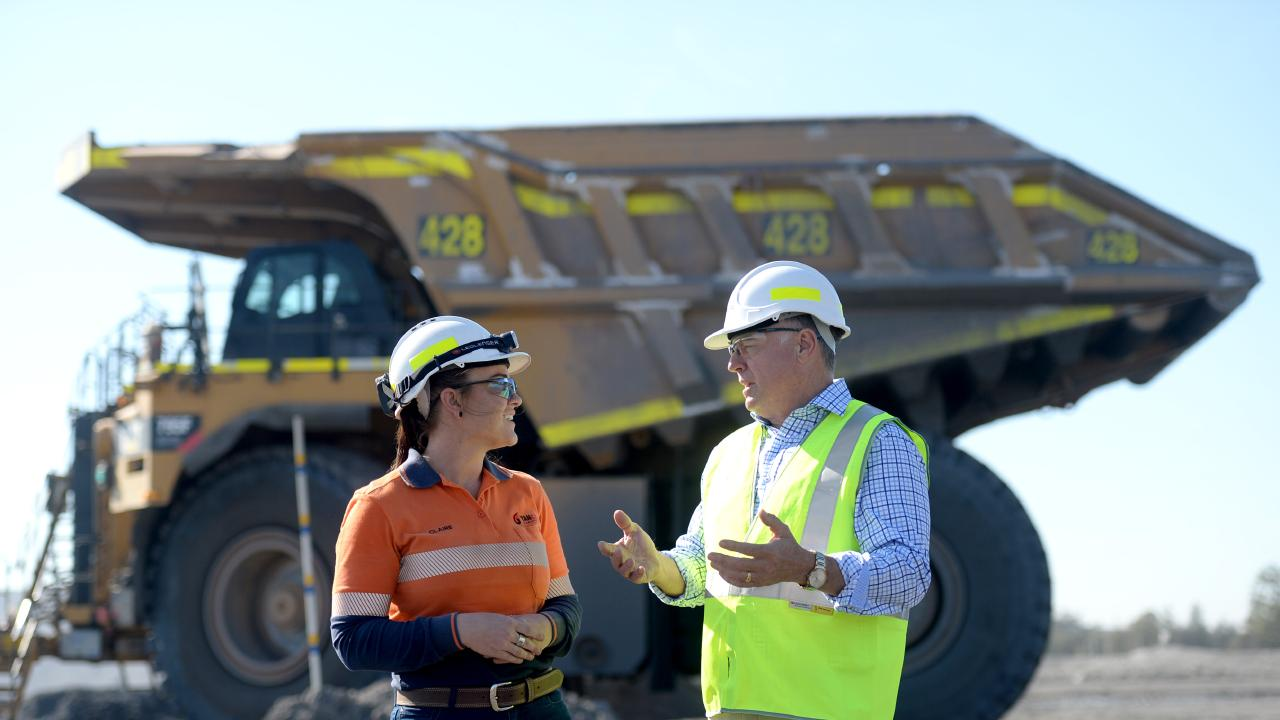 Joel Fitzgibbon and Claire Bennis at the Yancoal Mount Thorley Coal Mine in the Hunter. Photo Jeremy Piper