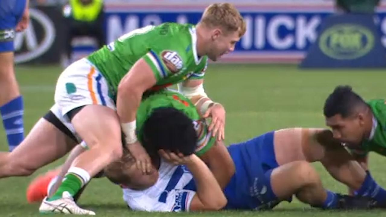 Hudson Young grapples with Canterbury's Aiden Tolman. Source: Fox Sports