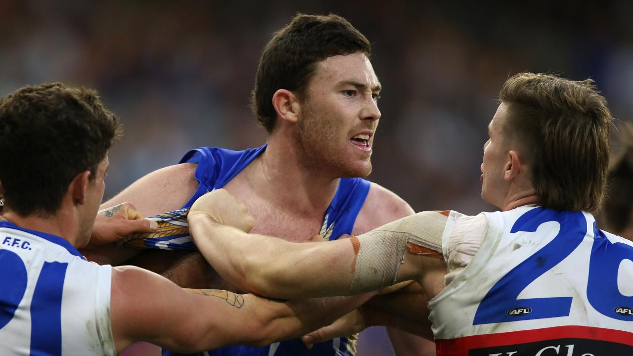 Tempers flared and Jeremy McGovern was in the thick of it. Pic: Getty Images