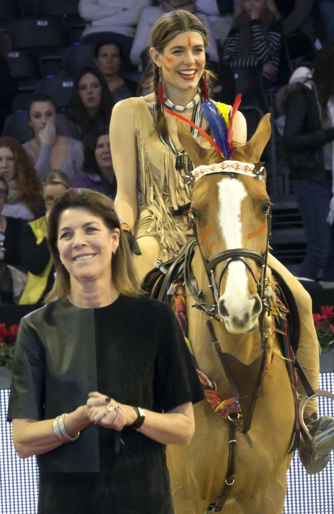 Charlotte Casiraghi with her mother  Princess Caroline of Hanover at an equestrian event in Paris.