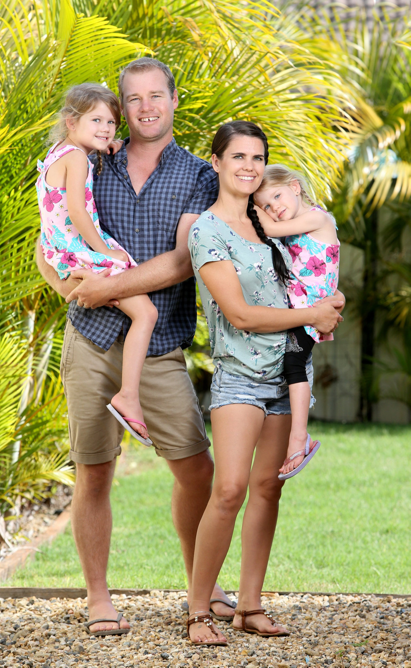 House Rules contestants Shayn and Carly Clark with daughters Harper and Imogen.
