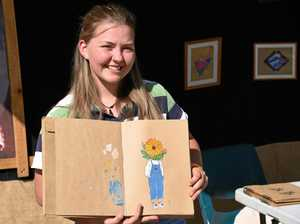 Young artist turns to drawing after breaking back in crash