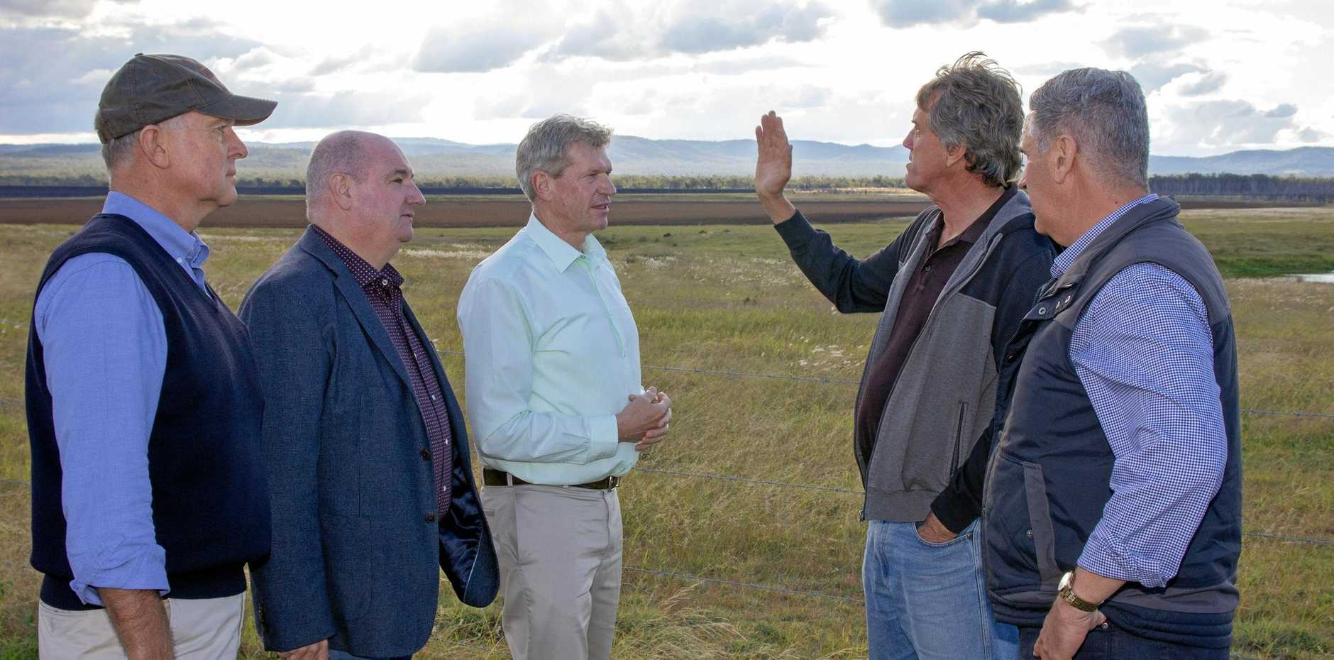 SOLUTION NEEDED: Opposition MPs Tony Perrett and Michael Hart, member for Lockyer Jim McDonald, Lockyer Water Users Forum member Gordon Van der Est and shadow minister for natural resources Dale Last discuss irrigation in the Lockyer Valley at a dry Lake Clarendon.